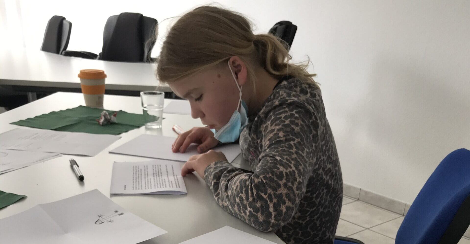 Ein Mädchen liest sehr aufmerksam eine Geschichte.