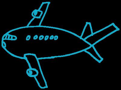 ein dickes Flugzeug in blau, das von rechts nach links fliegt.