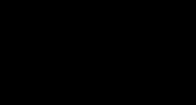 Eine schwarzweiße Kinderzeichnung von einem Mann mit dünnem Hals, eckigem Körper und langen eckigen Beinen. Seine Arme hängen weit nach unten und gehen noch am Boden entlang. Rechts von ihm läuft ein gefleckter Hund, den er an der Leine hat.