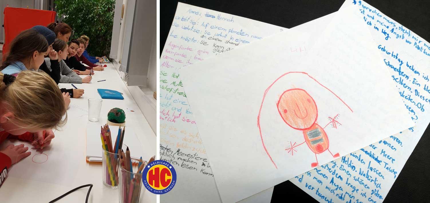 Kinder schreiben an ihren Geschichten. Eine Illustration sieht man von einem sehr kindlichen Alien unter einem Regenbogen. Darunter vollgeschriebene Blätter mit den selbstgeschriebenen Geschichten