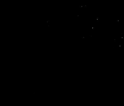Eine Schwarzweißzeichnung von einem Föhn, der viel Wind erzeugt und ein böses Gesicht hat.