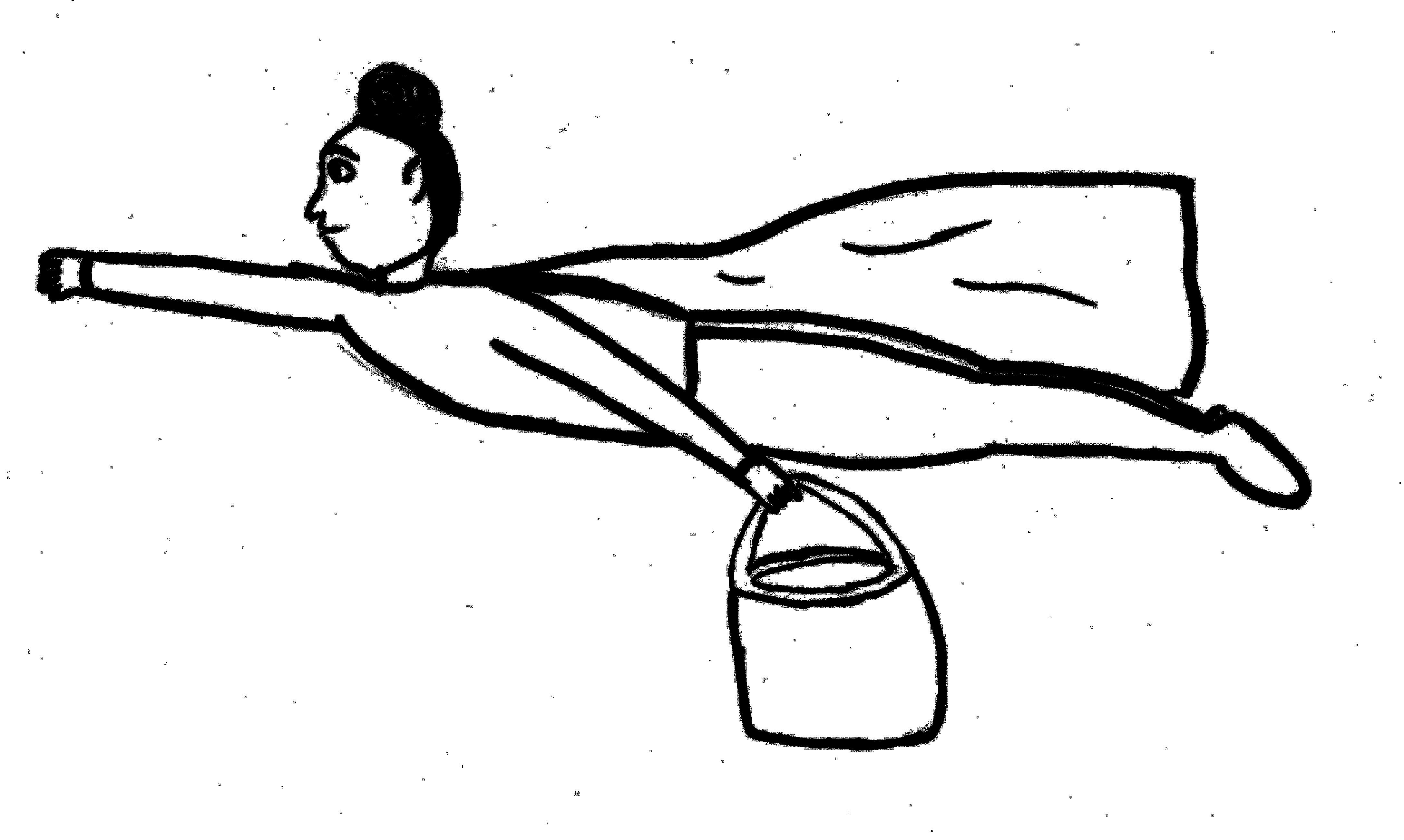 Eine Schwarzweißzeichnung von einer fliegenden Frau mit Dutt, Umhang und einer großen Handtasche. Sie fliegt von rechts nach links