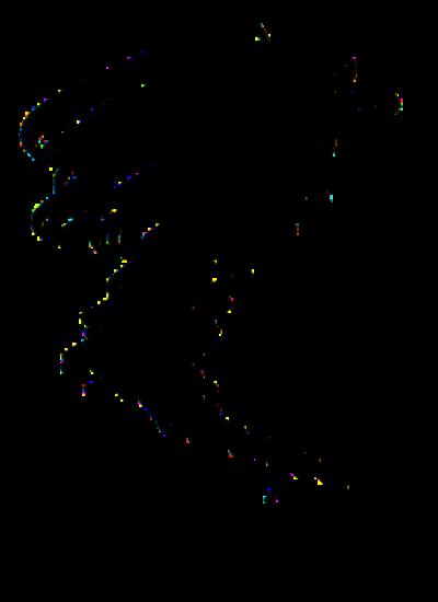 Eine Schwarzweißzeichnung von einem Wirbelsturm, der unten ganz klein ist und nachoben immer wilder und größer wird.