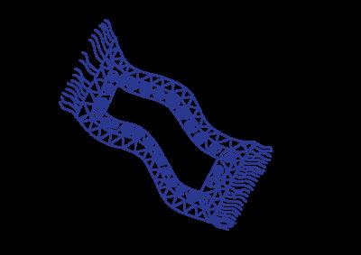 ein blauer kleiner Teppich mit Zickzack-Kringelmuster und Fransen