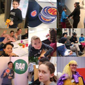 Fotocollage von verschiedenen Aktionen und Workshops.